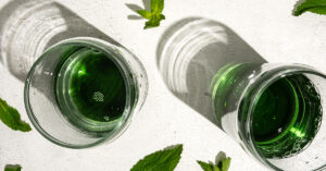 liquid chlorophyll added to water